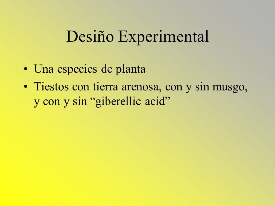 Desiño Experimental Una especies de planta