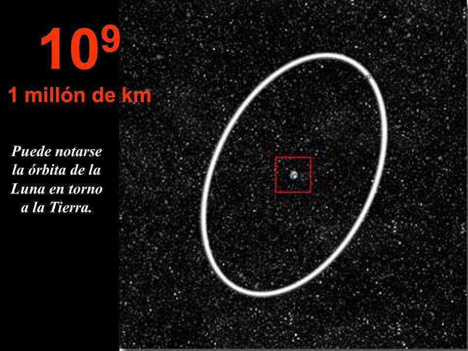 Puede notarse la órbita de la Luna en torno a la Tierra.