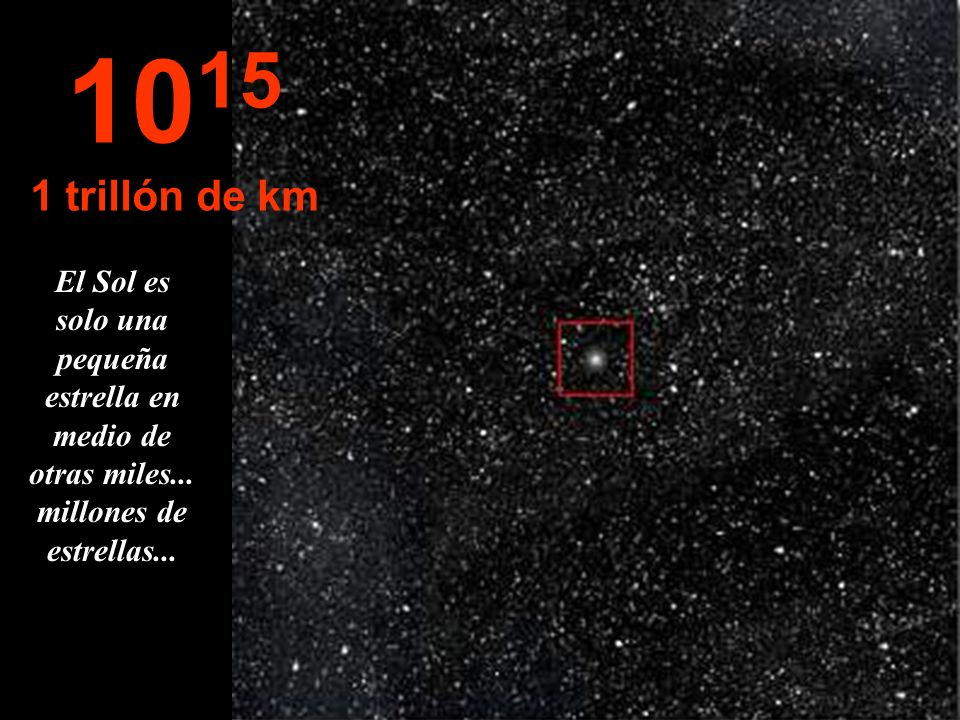 10151 trillón de km.El Sol es solo una pequeña estrella en medio de otras miles...
