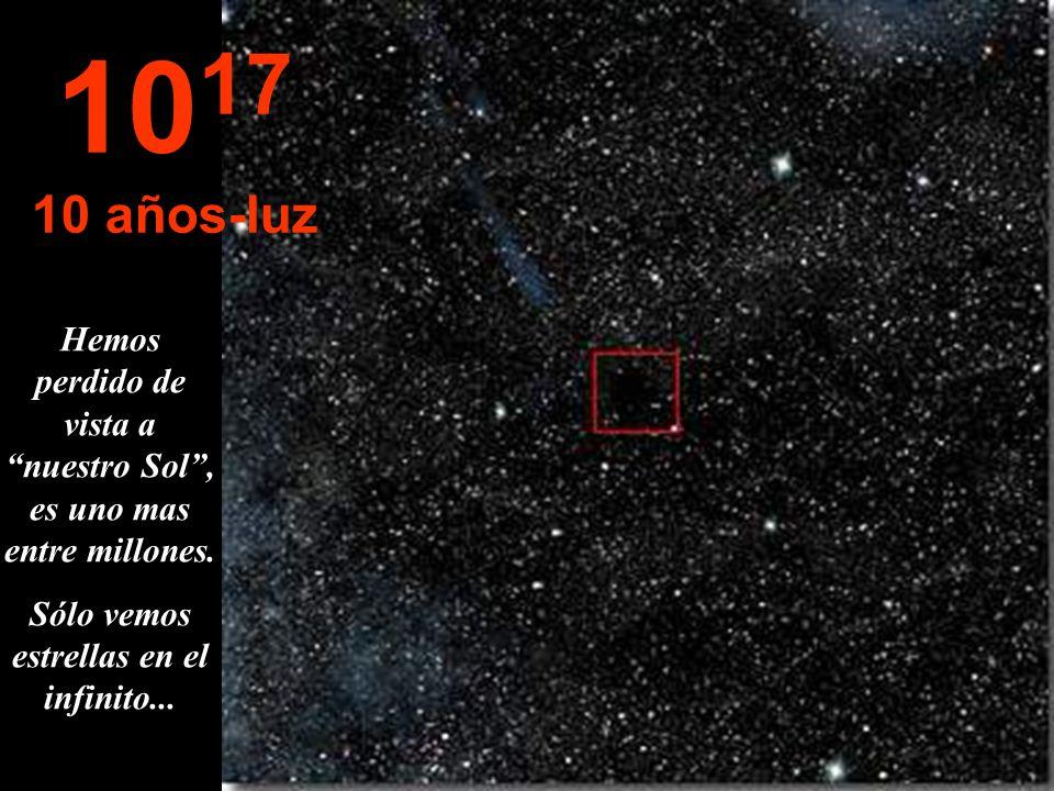 1017 10 años-luz. Hemos perdido de vista a nuestro Sol , es uno mas entre millones.