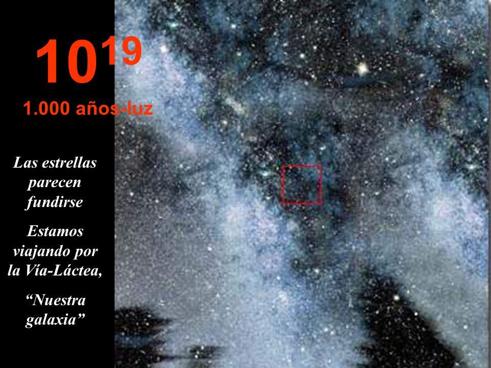 Las estrellas parecen fundirse Estamos viajando por la Vía-Láctea,