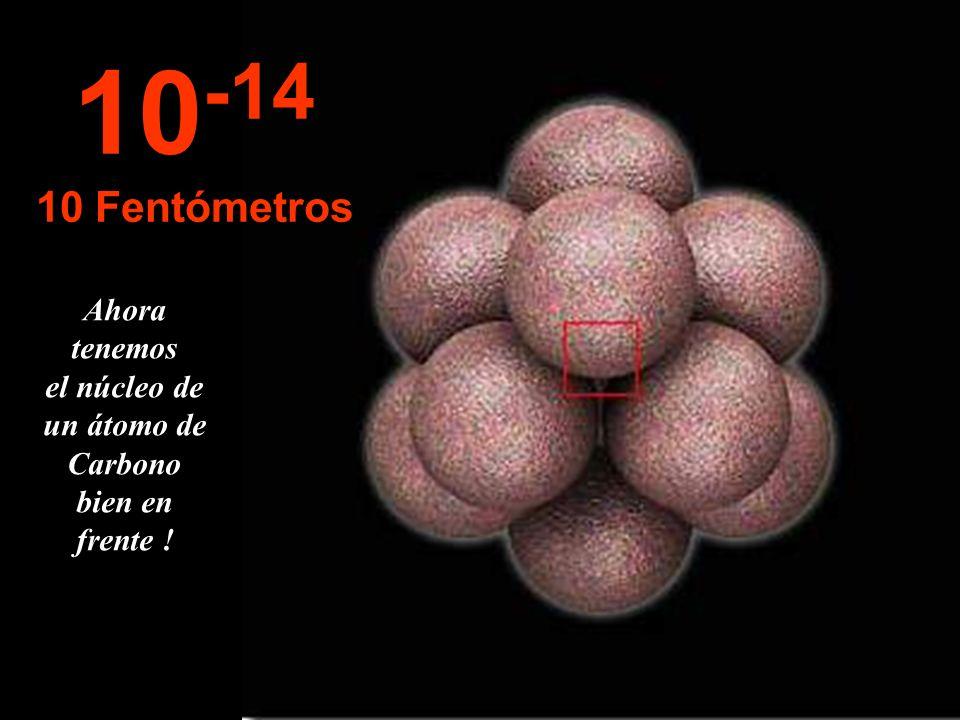 Ahora tenemos el núcleo de un átomo de Carbono bien en frente !