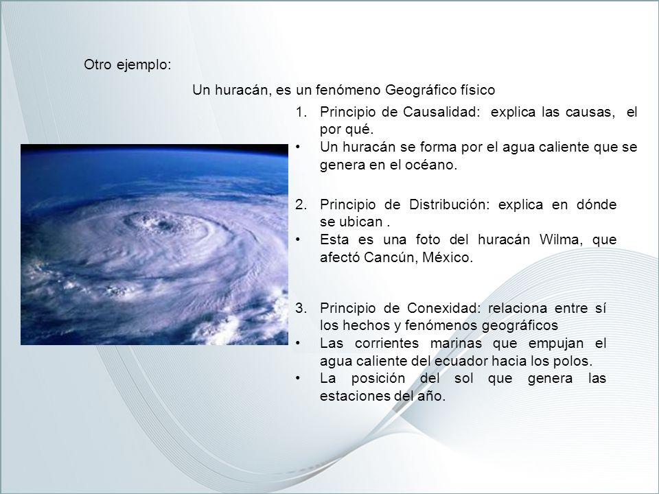 Otro ejemplo: Un huracán, es un fenómeno Geográfico físico. Principio de Causalidad: explica las causas, el por qué.