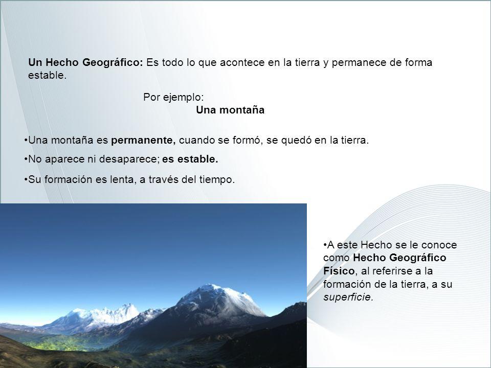 Un Hecho Geográfico: Es todo lo que acontece en la tierra y permanece de forma estable.
