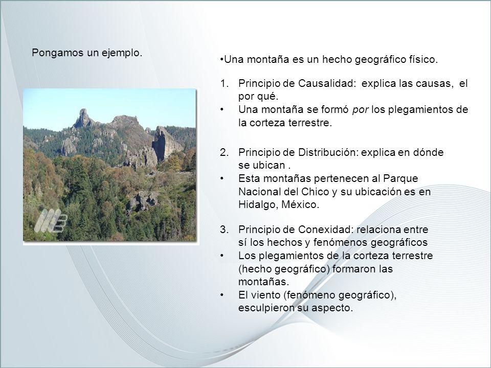 Pongamos un ejemplo. Una montaña es un hecho geográfico físico. Principio de Causalidad: explica las causas, el por qué.