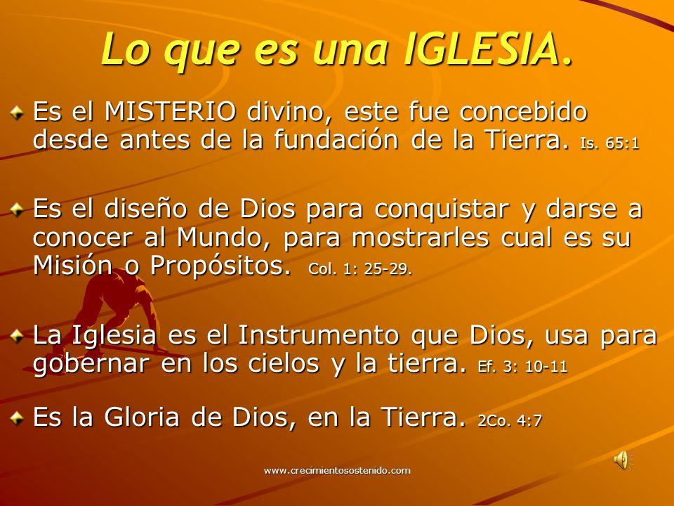 Lo que es una IGLESIA. Es el MISTERIO divino, este fue concebido desde antes de la fundación de la Tierra. Is. 65:1.