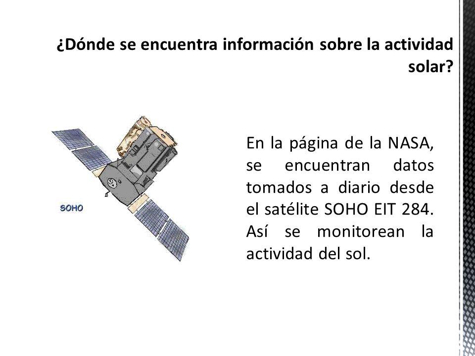 ¿Dónde se encuentra información sobre la actividad solar