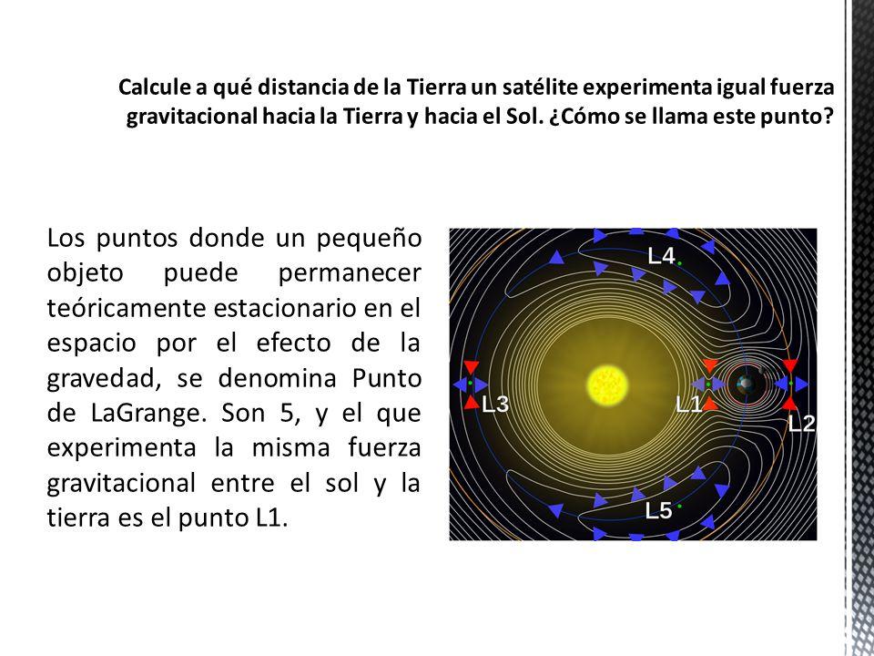 Calcule a qué distancia de la Tierra un satélite experimenta igual fuerza gravitacional hacia la Tierra y hacia el Sol. ¿Cómo se llama este punto