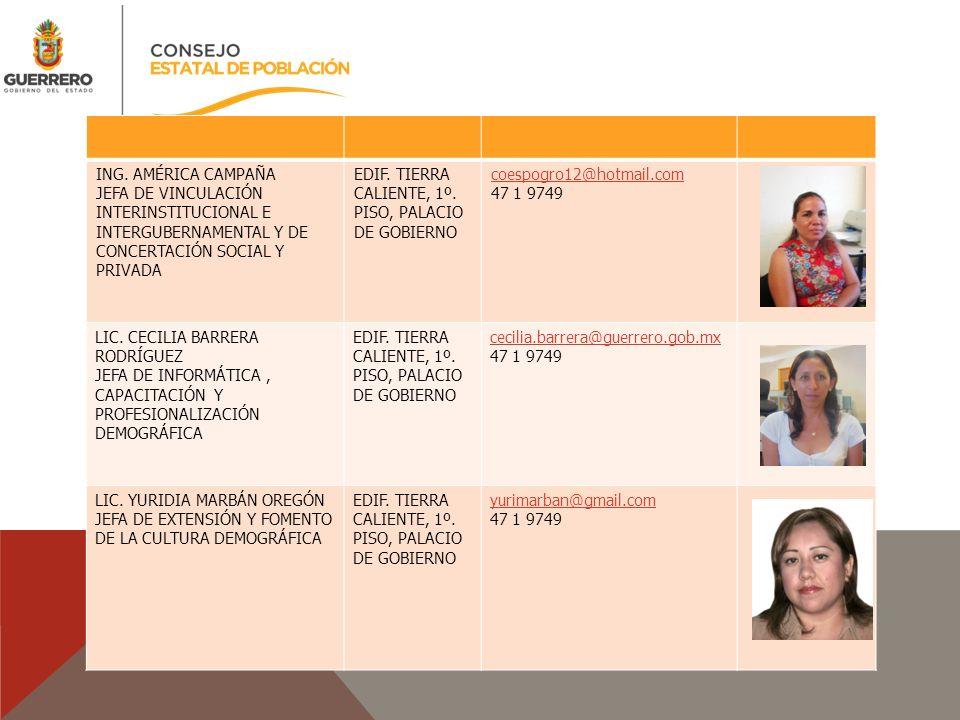ING. AMÉRICA CAMPAÑA JEFA DE VINCULACIÓN INTERINSTITUCIONAL E INTERGUBERNAMENTAL Y DE CONCERTACIÓN SOCIAL Y PRIVADA.
