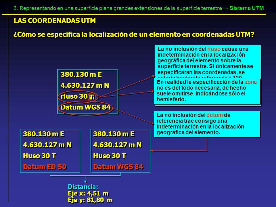 ¿Cómo se específica la localización de un elemento en coordenadas UTM