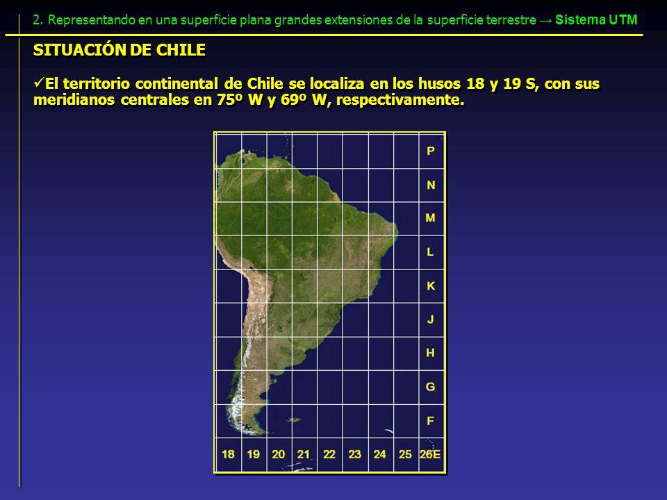 2. Representando en una superficie plana grandes extensiones de la superficie terrestre → Sistema UTM