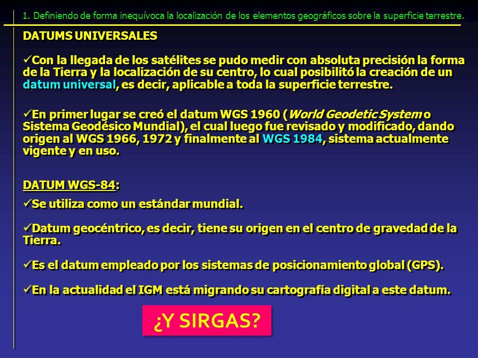 ¿Y SIRGAS DATUMS UNIVERSALES