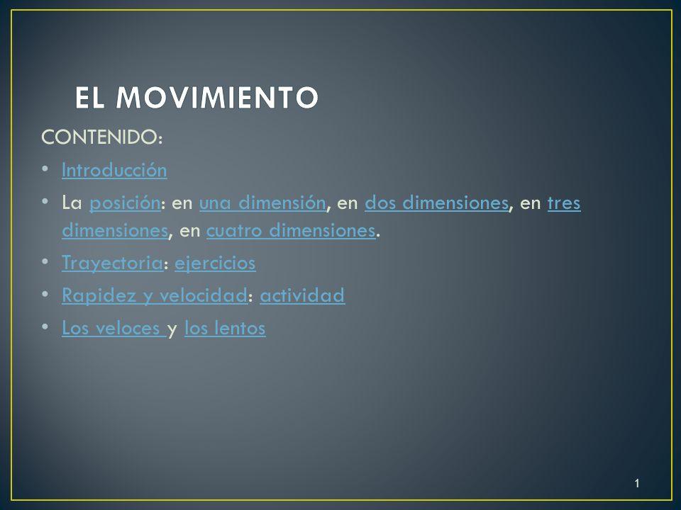 EL MOVIMIENTO CONTENIDO: Introducción