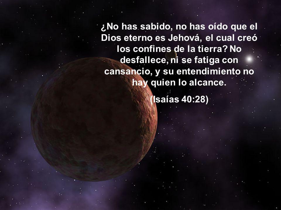 ¿No has sabido, no has oído que el Dios eterno es Jehová, el cual creó los confines de la tierra No desfallece, ni se fatiga con cansancio, y su entendimiento no hay quien lo alcance.