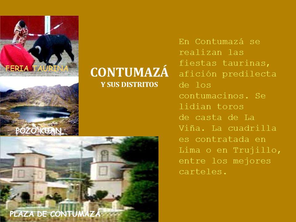 FERIA TAURINA En Contumazá se realizan las fiestas taurinas, afición predilecta. de los contumacinos. Se lidian toros.