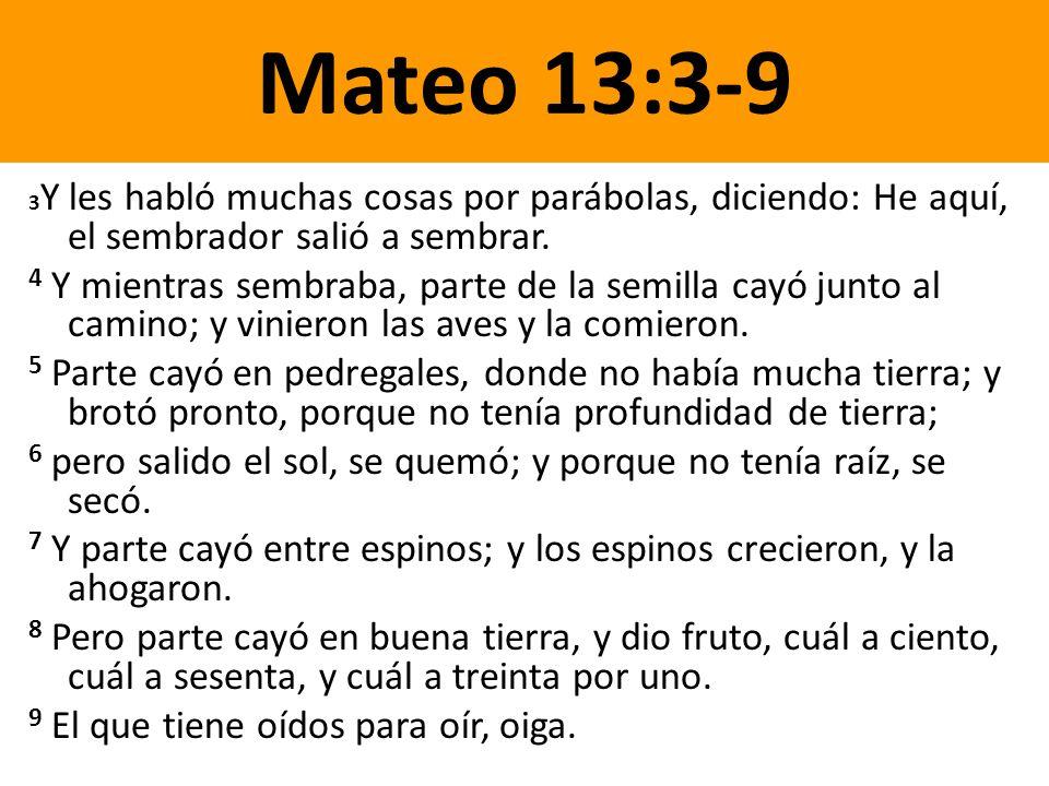 Mateo 13:3-9 3Y les habló muchas cosas por parábolas, diciendo: He aquí, el sembrador salió a sembrar.