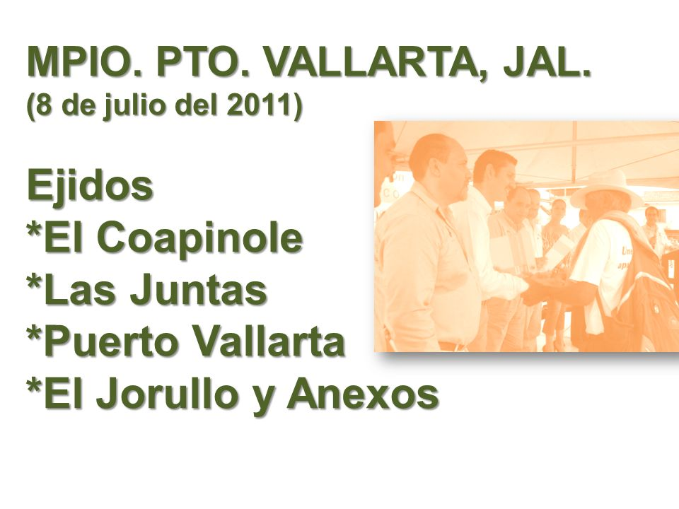 Mpio. Pto. Vallarta, jal. (8 de julio del 2011) Ejidos. El Coapinole