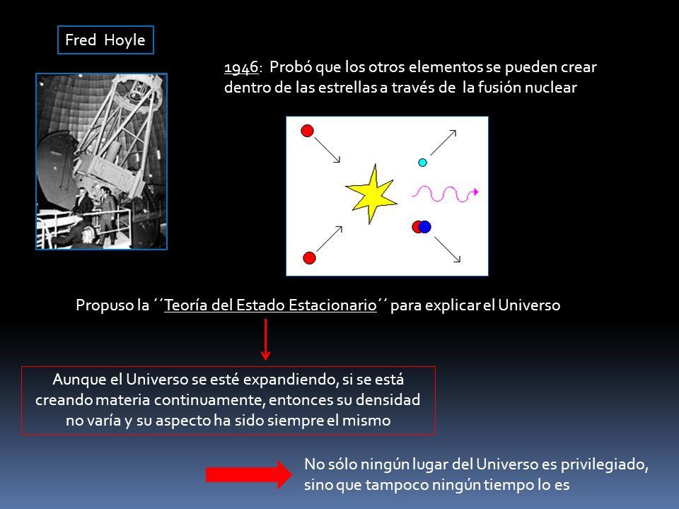 Fred Hoyle 1946: Probó que los otros elementos se pueden crear dentro de las estrellas a través de la fusión nuclear.