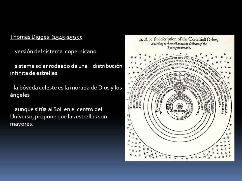 Thomas Digges (1545-1595): versión del sistema copernicano. sistema solar rodeado de una distribución infinita de estrellas.