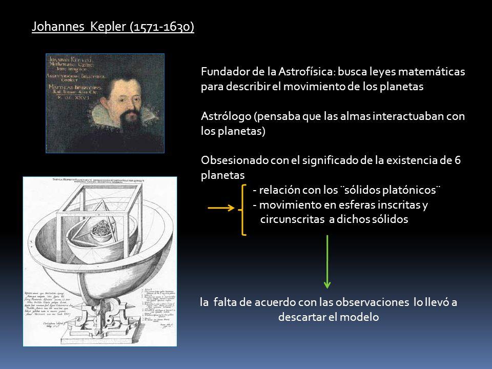 Johannes Kepler (1571-1630) Fundador de la Astrofísica: busca leyes matemáticas para describir el movimiento de los planetas.