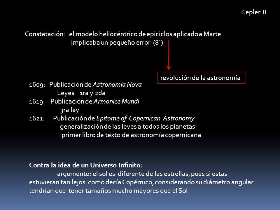 Kepler II Constatación: el modelo heliocéntrico de epiciclos aplicado a Marte implicaba un pequeño error (8´)