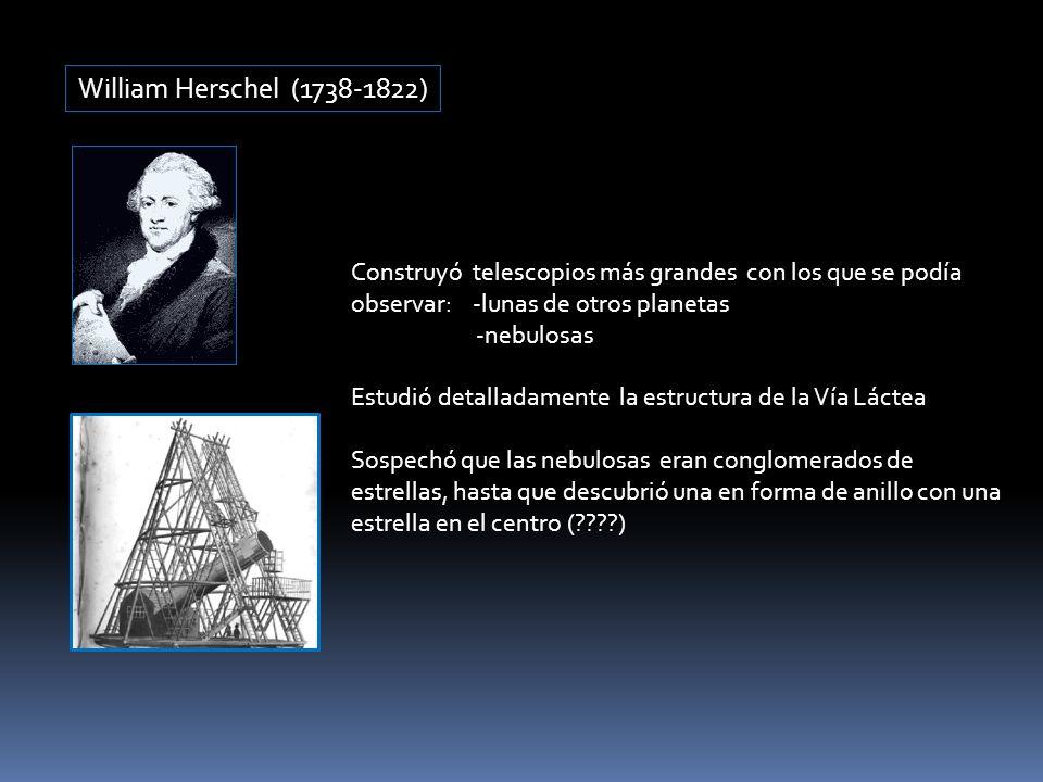 William Herschel (1738-1822) Construyó telescopios más grandes con los que se podía observar: -lunas de otros planetas.