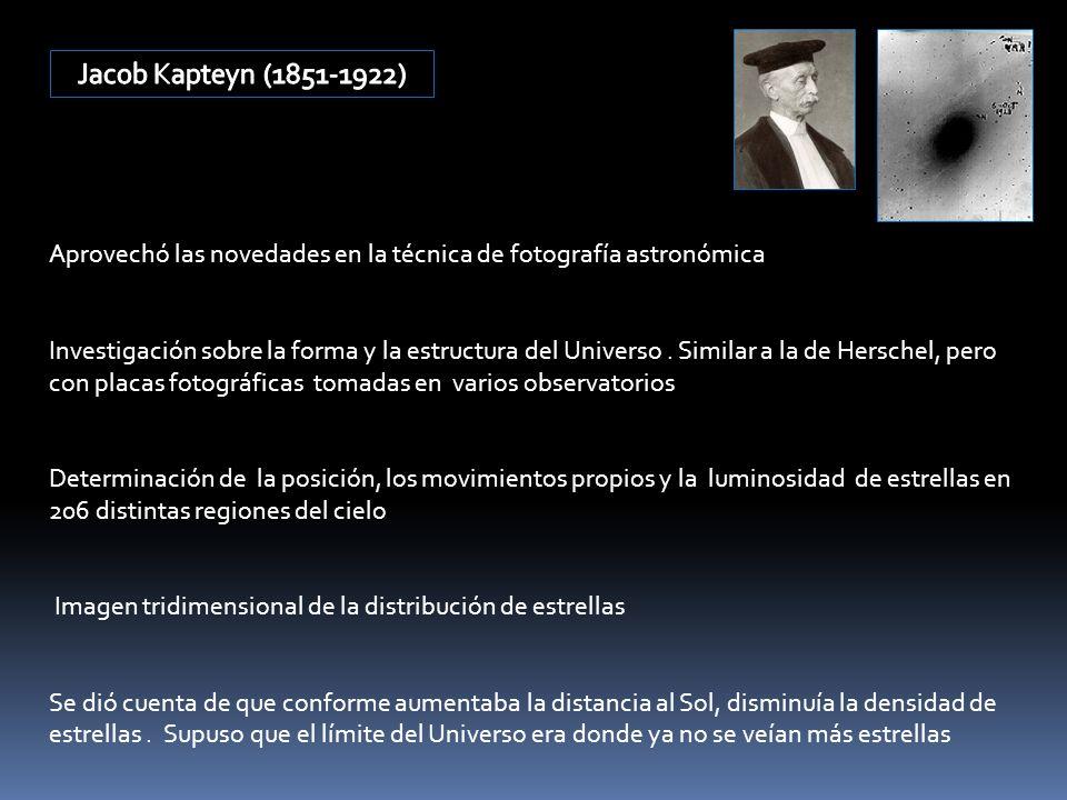 Jacob Kapteyn (1851-1922) Aprovechó las novedades en la técnica de fotografía astronómica.