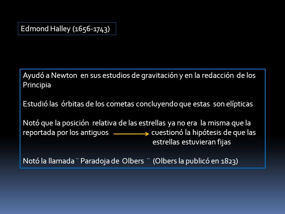 Edmond Halley (1656-1743) Ayudó a Newton en sus estudios de gravitación y en la redacción de los Principia.