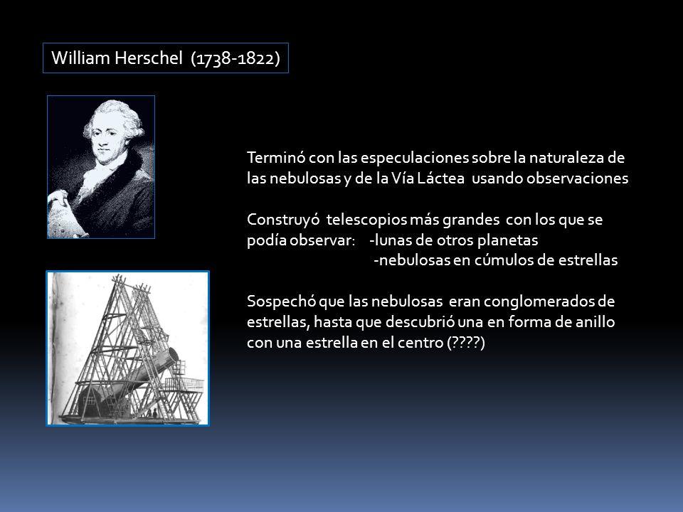 William Herschel (1738-1822) Terminó con las especulaciones sobre la naturaleza de las nebulosas y de la Vía Láctea usando observaciones.