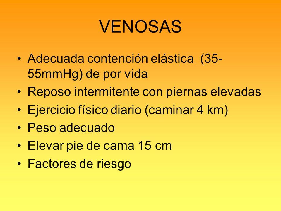 VENOSAS Adecuada contención elástica (35-55mmHg) de por vida