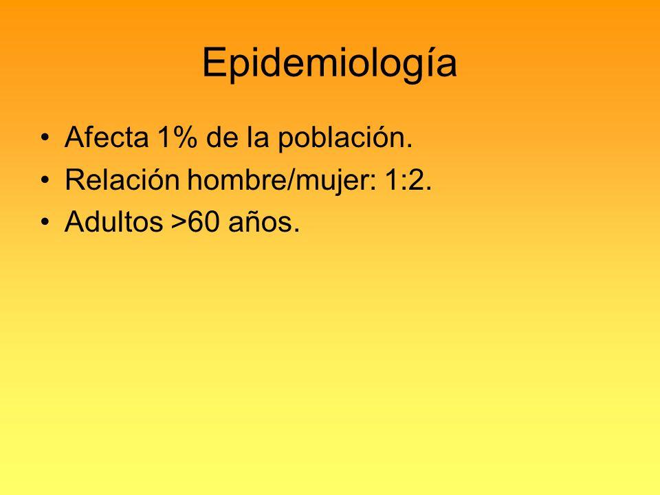 Epidemiología Afecta 1% de la población. Relación hombre/mujer: 1:2.