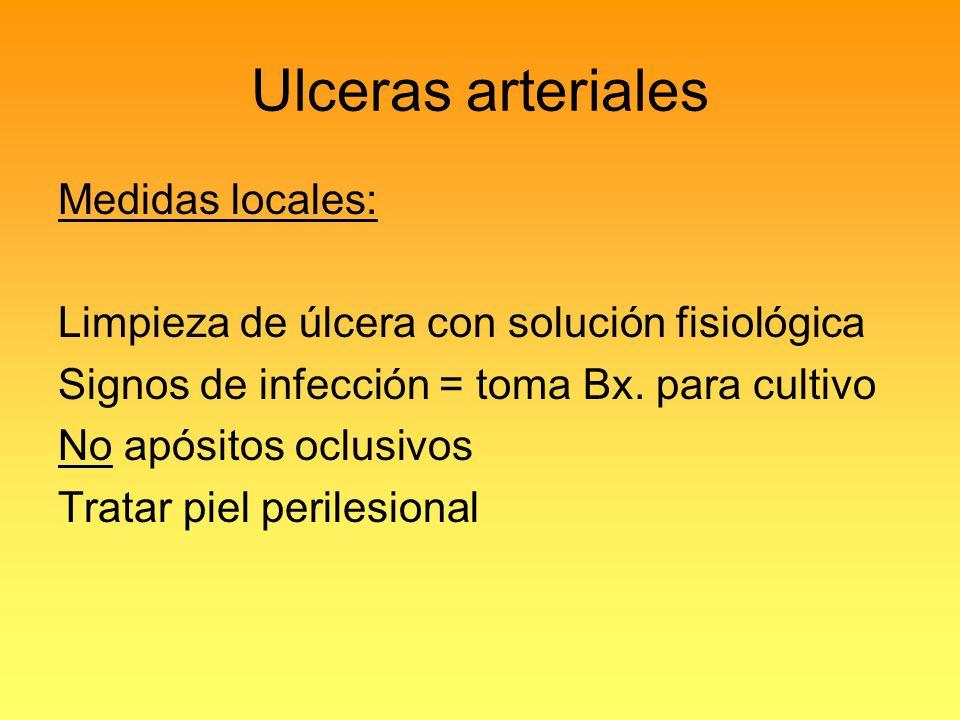 Ulceras arteriales Medidas locales:
