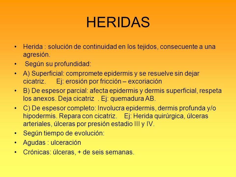 HERIDAS Herida : solución de continuidad en los tejidos, consecuente a una agresión. Según su profundidad:
