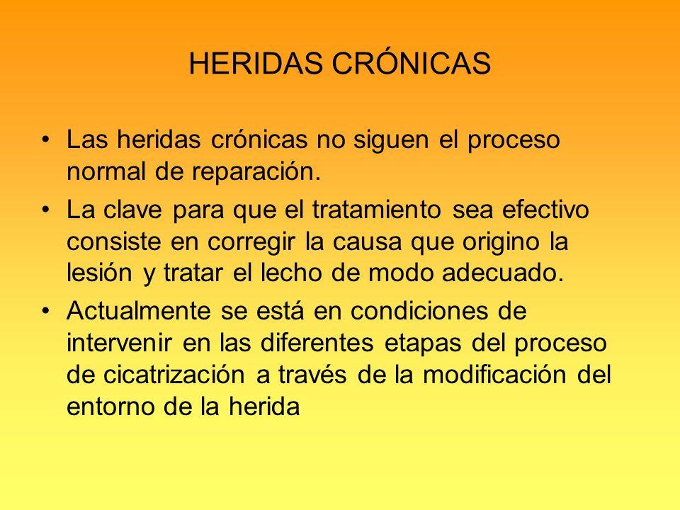 HERIDAS CRÓNICAS Las heridas crónicas no siguen el proceso normal de reparación.