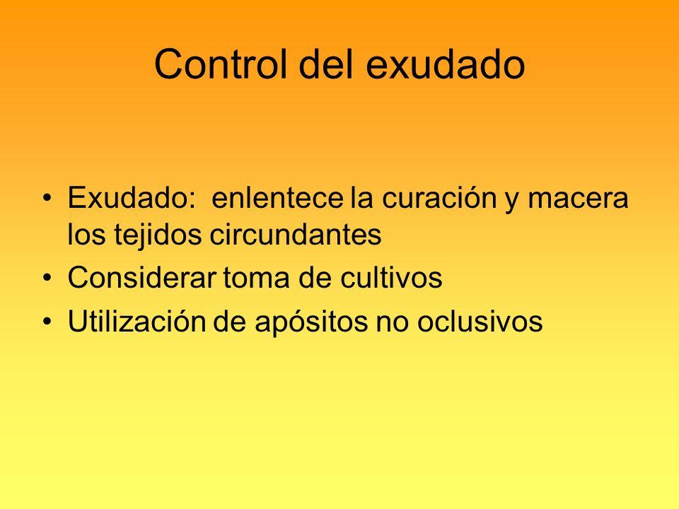 Control del exudado Exudado: enlentece la curación y macera los tejidos circundantes. Considerar toma de cultivos.