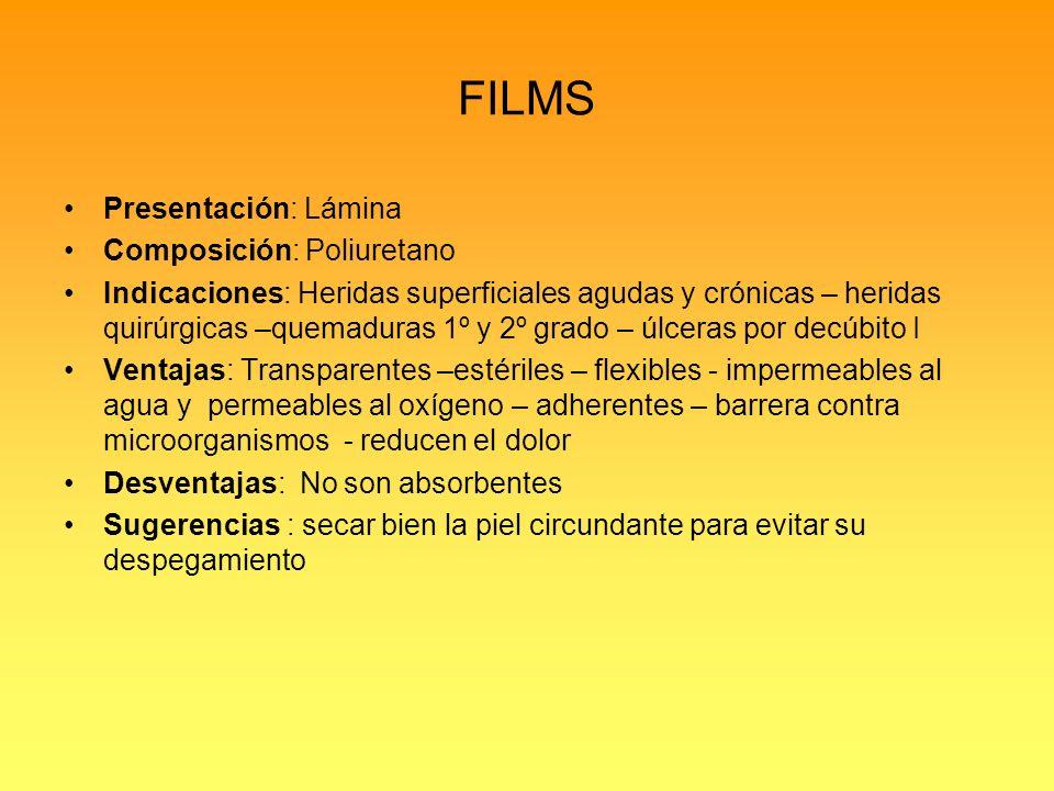 FILMS Presentación: Lámina Composición: Poliuretano
