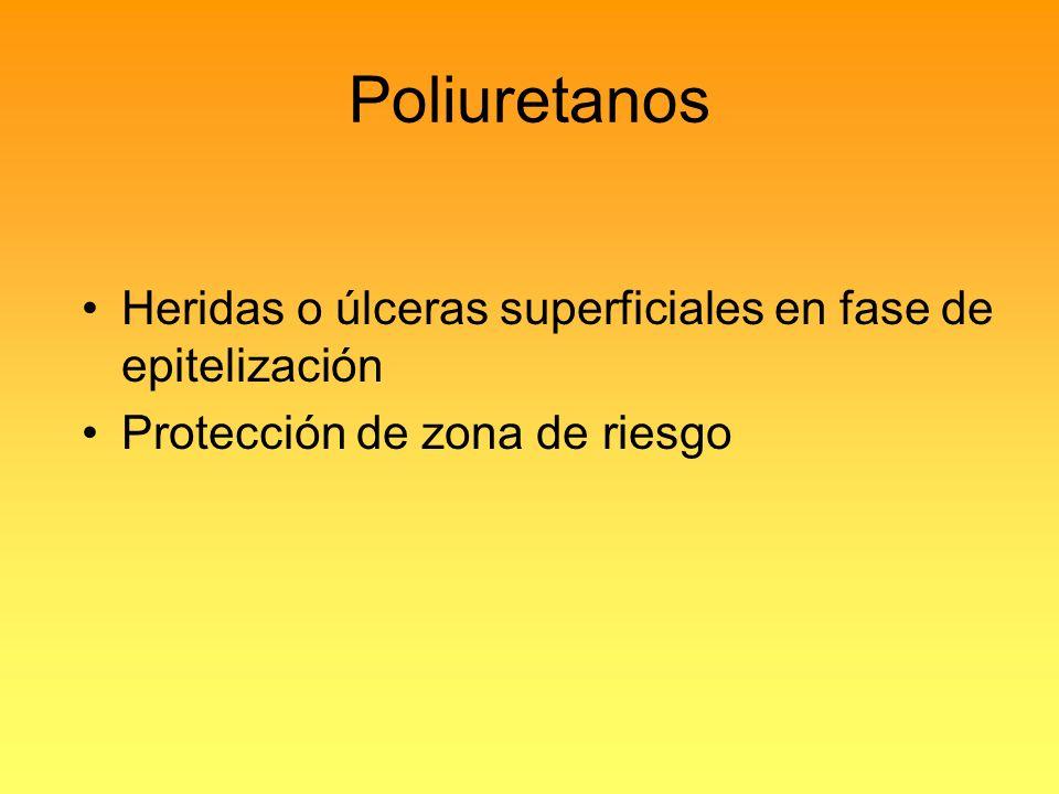 Poliuretanos Heridas o úlceras superficiales en fase de epitelización