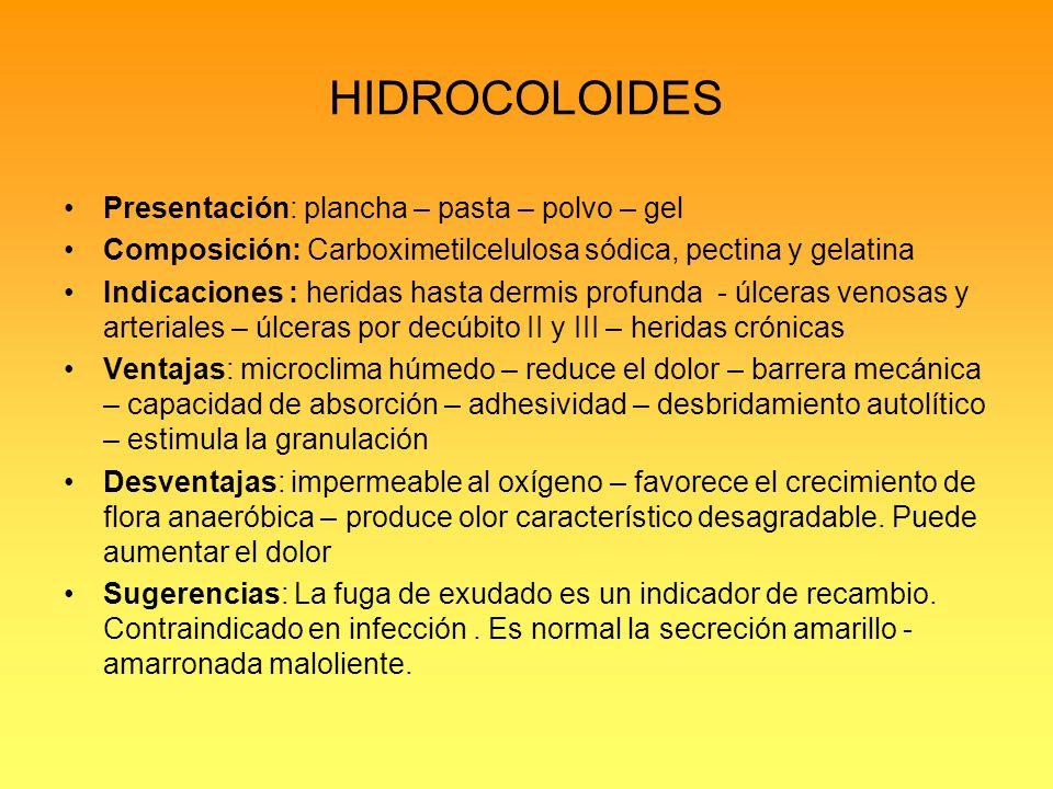 HIDROCOLOIDES Presentación: plancha – pasta – polvo – gel