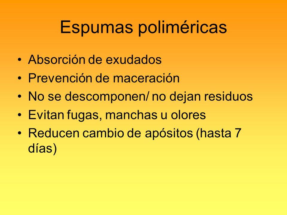 Espumas poliméricas Absorción de exudados Prevención de maceración