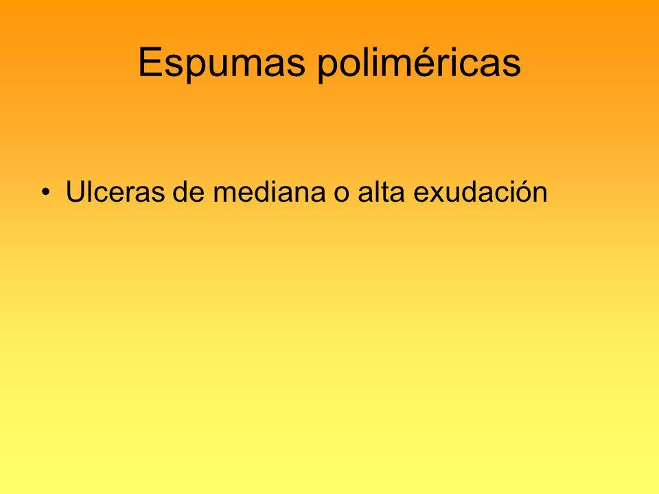 Espumas poliméricas Ulceras de mediana o alta exudación