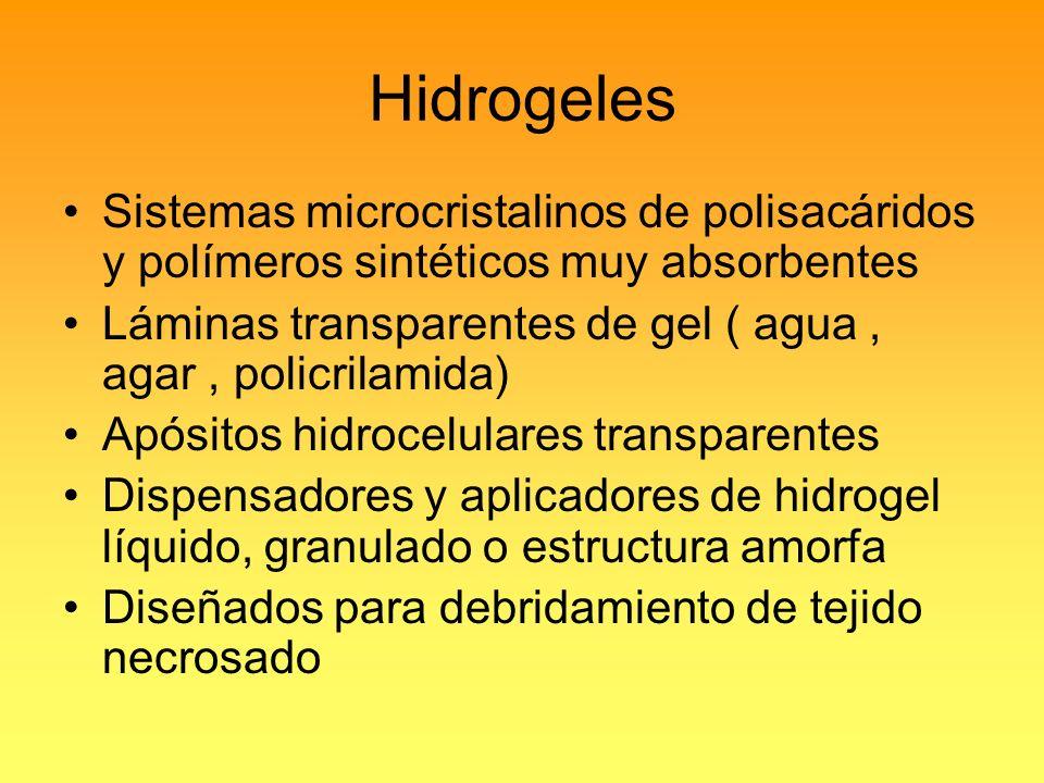 Hidrogeles Sistemas microcristalinos de polisacáridos y polímeros sintéticos muy absorbentes.