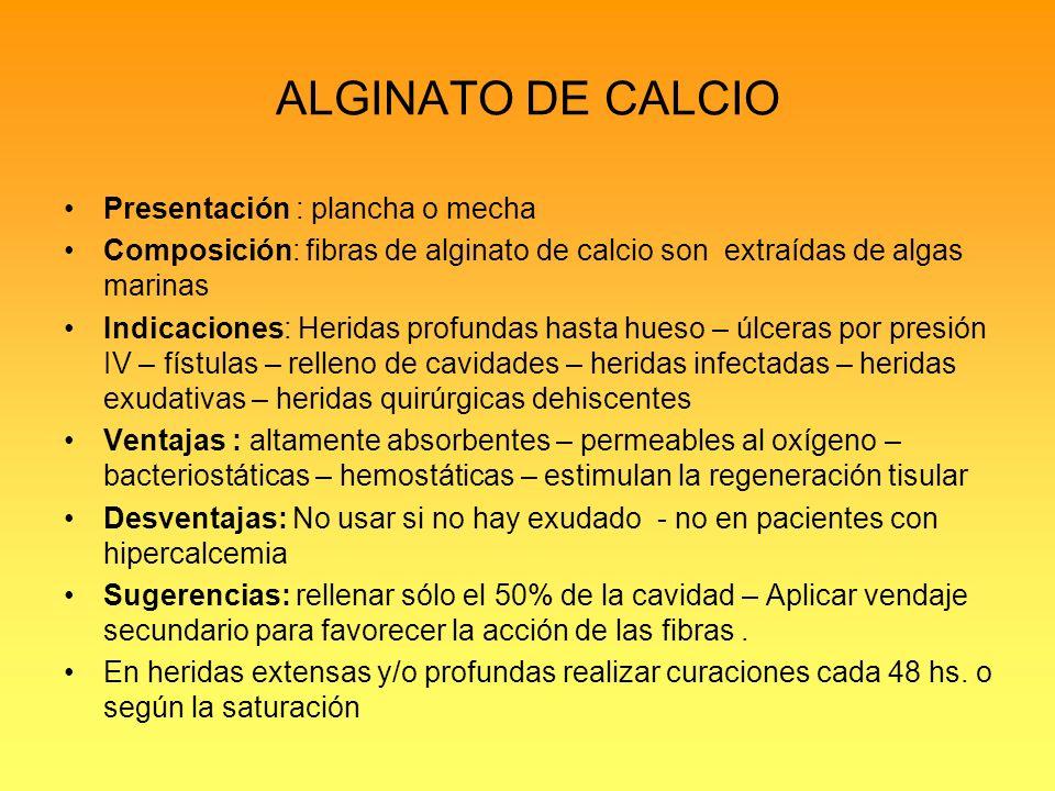 ALGINATO DE CALCIO Presentación : plancha o mecha