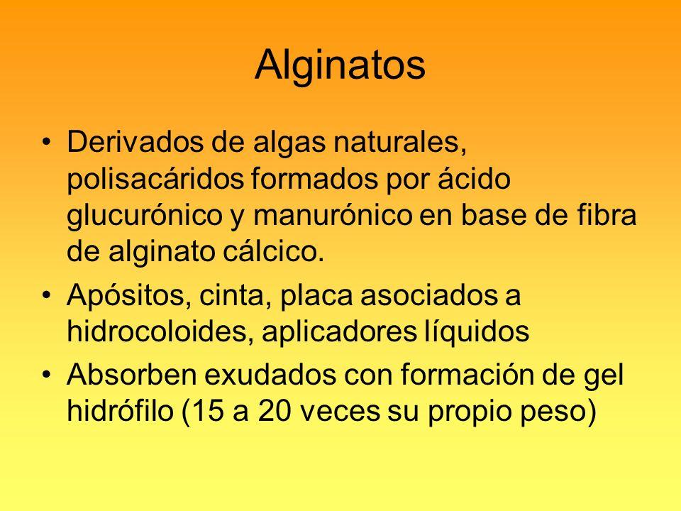 Alginatos Derivados de algas naturales, polisacáridos formados por ácido glucurónico y manurónico en base de fibra de alginato cálcico.