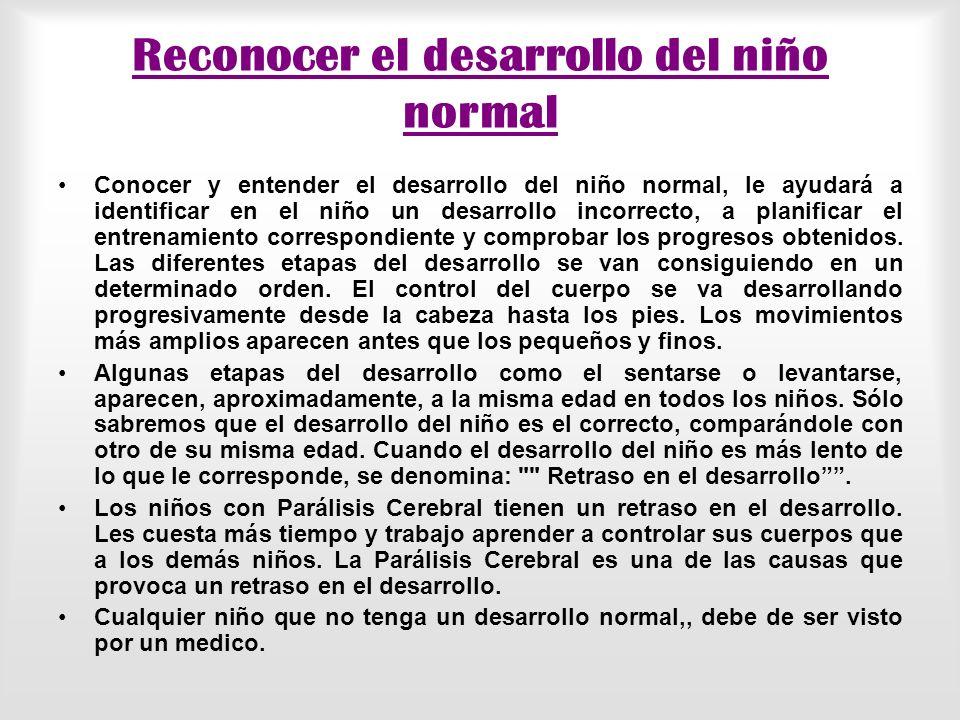 Reconocer el desarrollo del niño normal