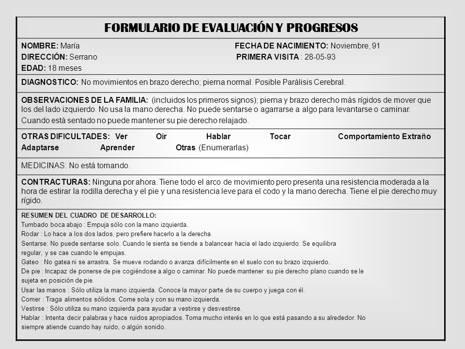 FORMULARIO DE EVALUACIÓN Y PROGRESOS