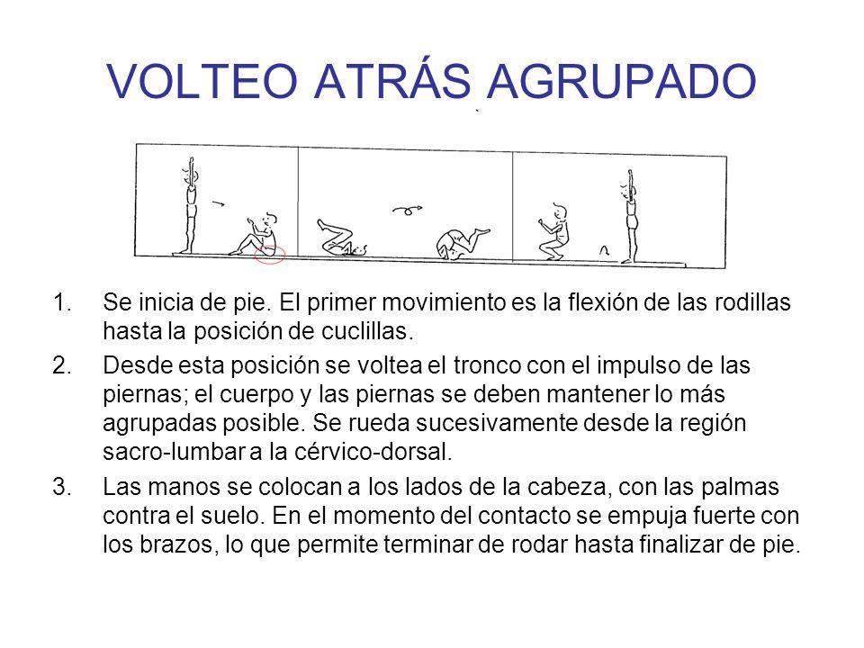 VOLTEO ATRÁS AGRUPADO Se inicia de pie. El primer movimiento es la flexión de las rodillas hasta la posición de cuclillas.