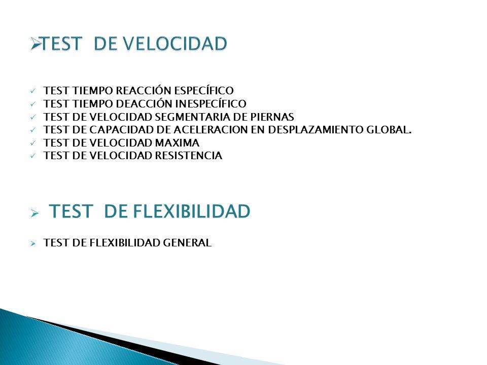 TEST DE VELOCIDAD TEST DE FLEXIBILIDAD TEST TIEMPO REACCIÓN ESPECÍFICO