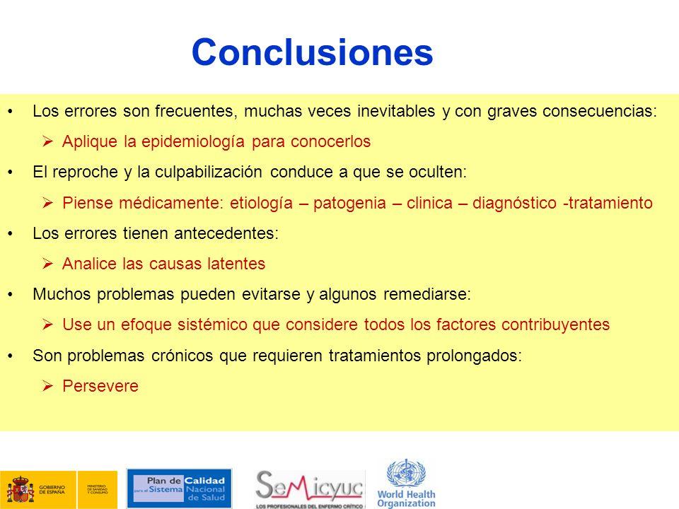 Conclusiones Los errores son frecuentes, muchas veces inevitables y con graves consecuencias: Aplique la epidemiología para conocerlos.