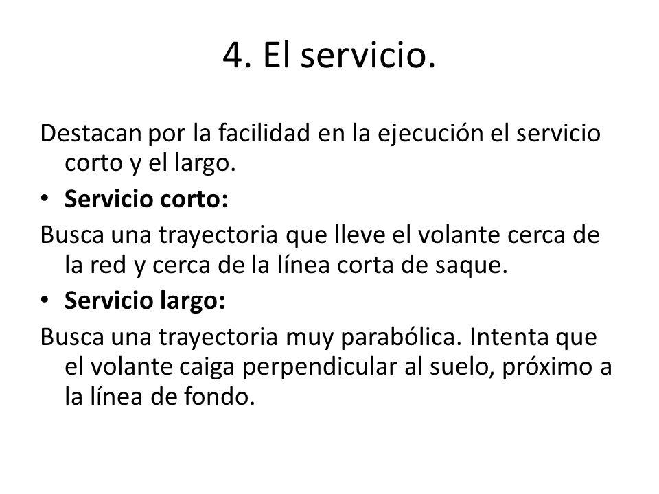 4. El servicio. Destacan por la facilidad en la ejecución el servicio corto y el largo. Servicio corto: