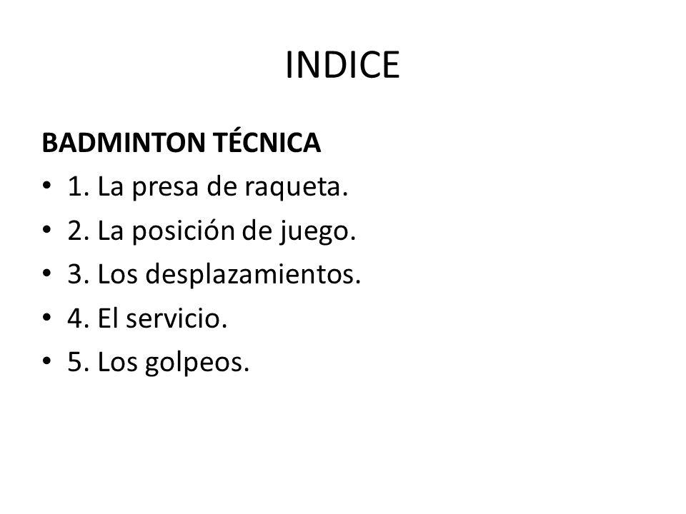 INDICE BADMINTON TÉCNICA 1. La presa de raqueta.